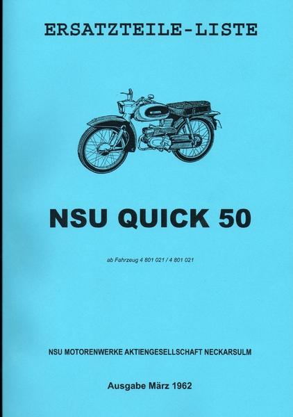 ersatzteilliste nsu quick 50 oldtimer buchhandel. Black Bedroom Furniture Sets. Home Design Ideas