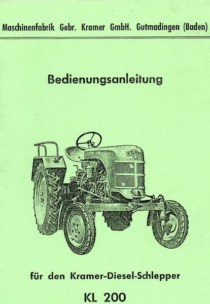 Bedienungsanleitung Kramer KL 200 - Oldtimer Buchhandel