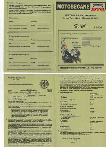 Betriebserlaubnis Solex Motobecane s 3800